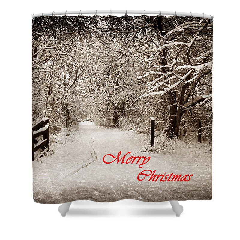 Snowy Trail Sepia Merry Christmas Shower Curtain for Sale by Skip ...