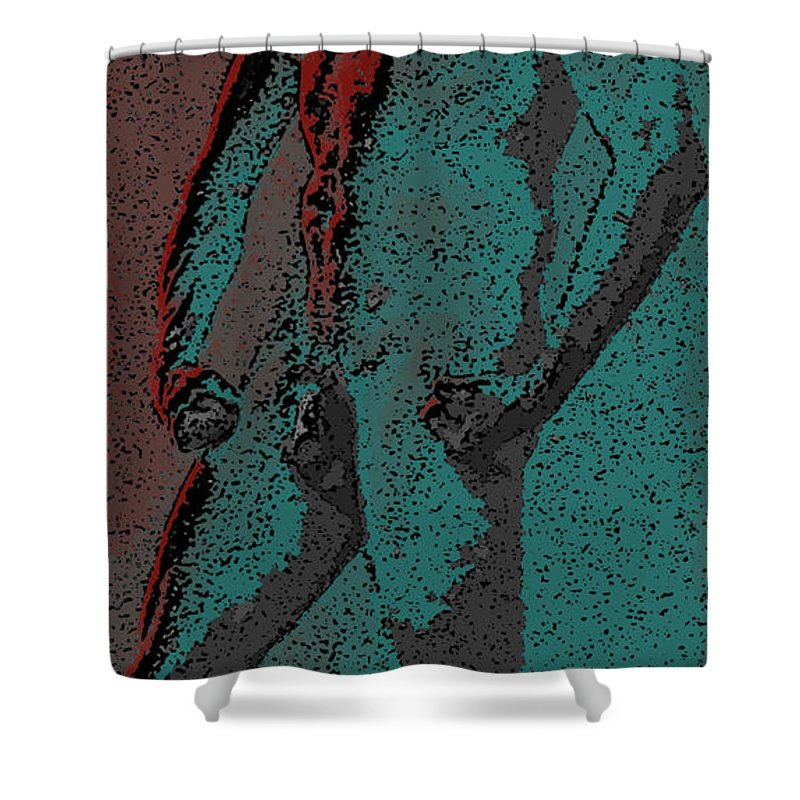 Teal Shower Curtain featuring the digital art Solarized by Teri Schuster
