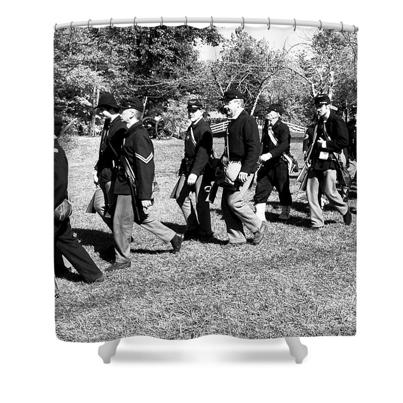 Usa Shower Curtain featuring the photograph Soldiers March by LeeAnn McLaneGoetz McLaneGoetzStudioLLCcom