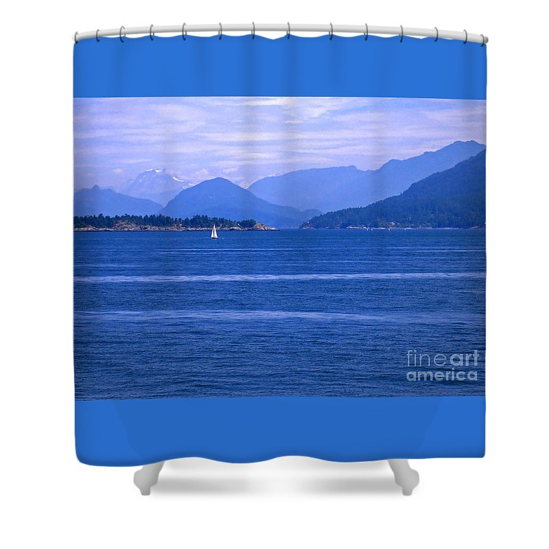 Sailboat Shower Curtain featuring the photograph Solitary Sailing by Ann Horn