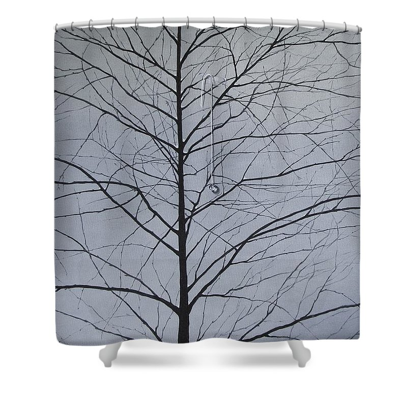 Winter Trees Shower Curtain featuring the painting Sorrow by Roger Calle
