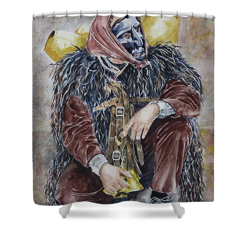 Sassu Shower Curtain featuring the painting Sotto Il Peso De Sa Carriga by Giovanni Marco Sassu