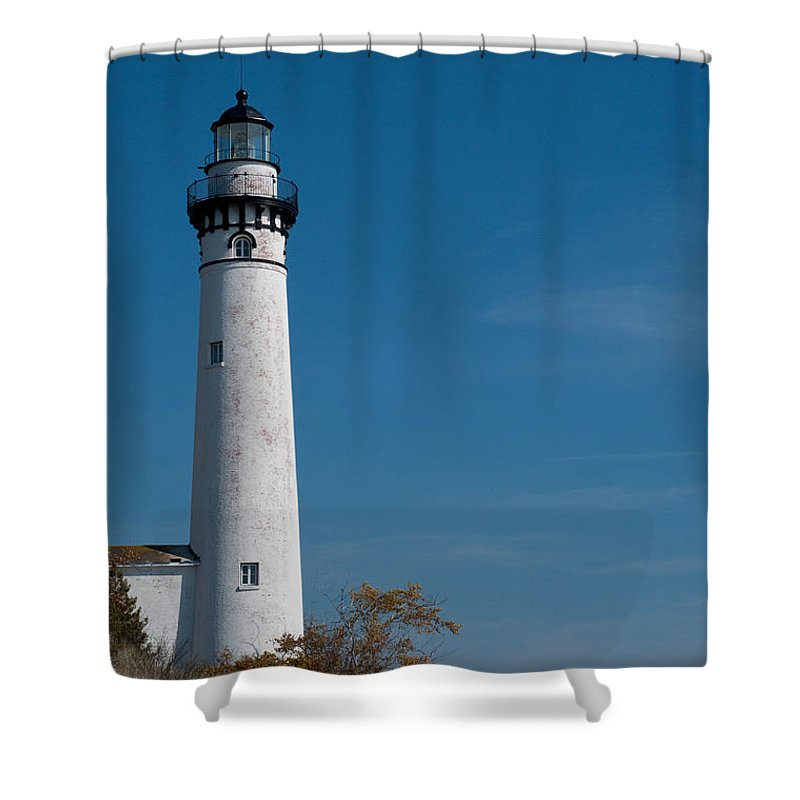 Lighthouse Shower Curtain featuring the photograph South Manitou Island Lighthouse by David Arment