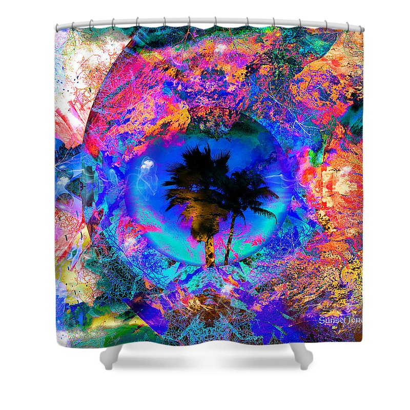 Palm Shower Curtain featuring the digital art South Of The Border by Robert Orinski