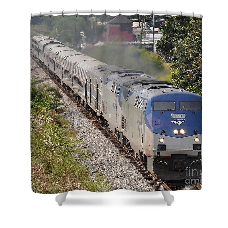 Amtrak Shower Curtain featuring the photograph Southbound Amtrak Silver Star by John Black