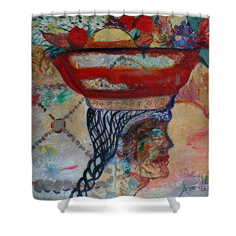 Woman Shower Curtain featuring the painting Southwestern Composite by Avonelle Kelsey