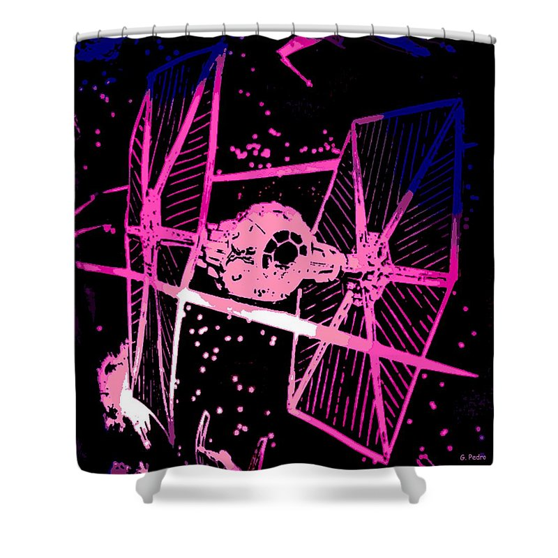 Space Battle Shower Curtain featuring the digital art Space Battle by George Pedro