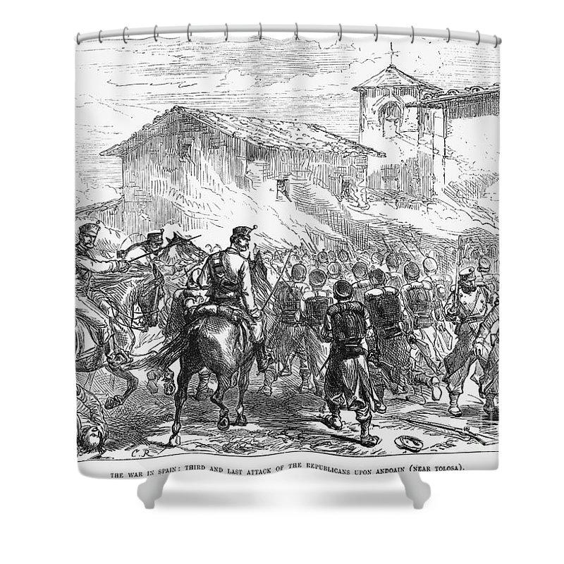 1874 Shower Curtain featuring the photograph Spain: Second Carlist War by Granger