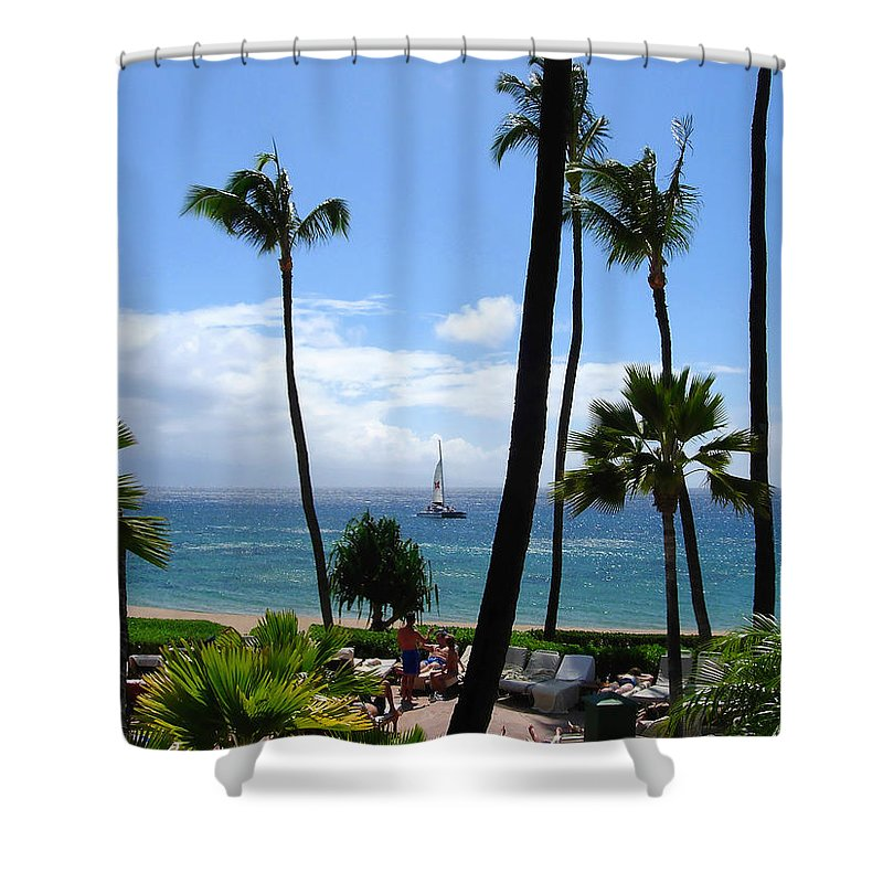 Palm Shower Curtain featuring the photograph Sparkling Sea At Kaanapali Maui by Connie Fox