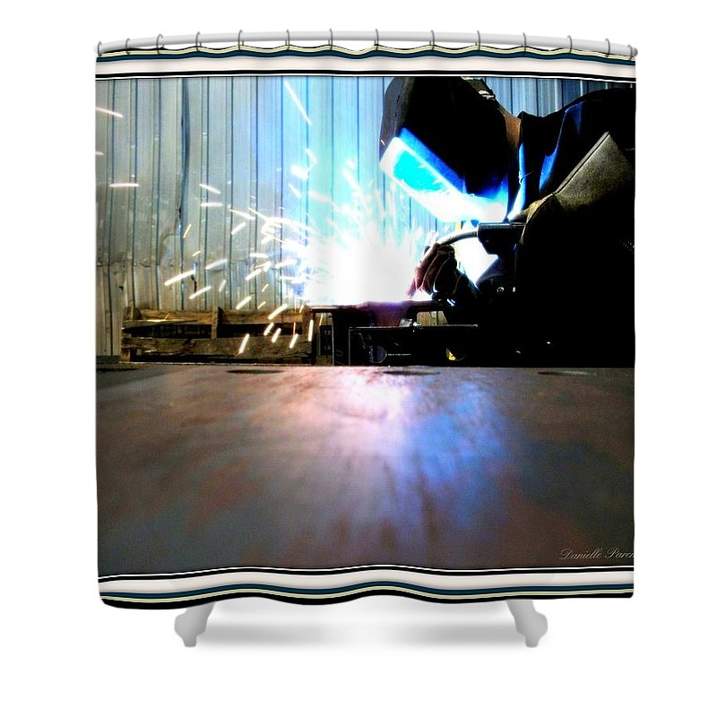 Man Welding Print Shower Curtain featuring the photograph Sparks by Danielle Parent