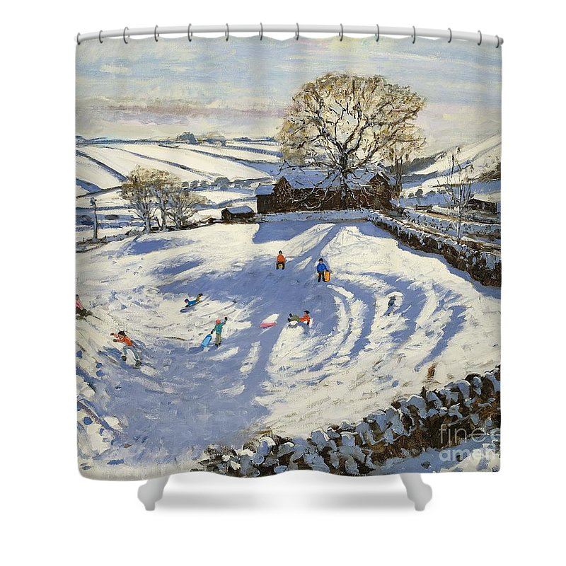 Winter Shower Curtain featuring the painting Sparrowpit Derbyshire by Andrew Macara