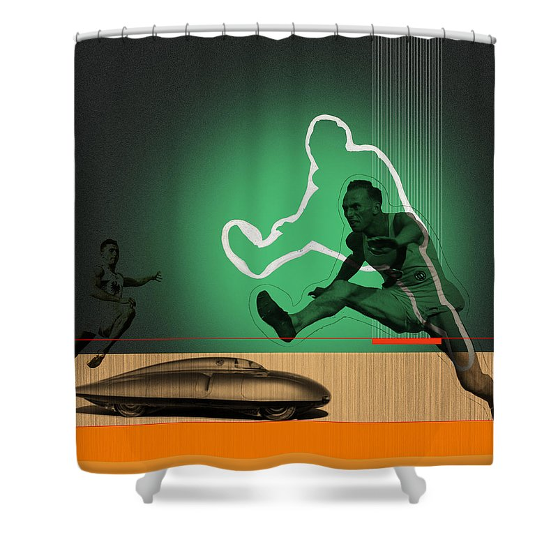 Shower Curtain featuring the digital art Speed Monsters by Naxart Studio