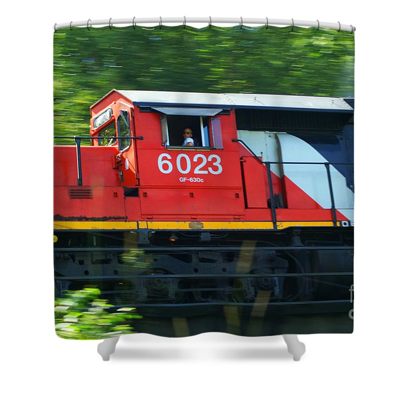 Trains Shower Curtain featuring the photograph Speeding Cn Train by Randy Harris