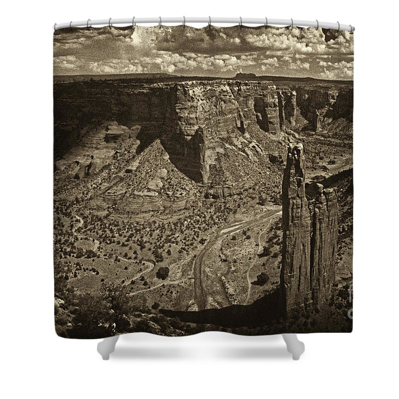 Spider Rock Shower Curtain featuring the photograph Spider Rock - Toned by Paul W Faust - Impressions of Light