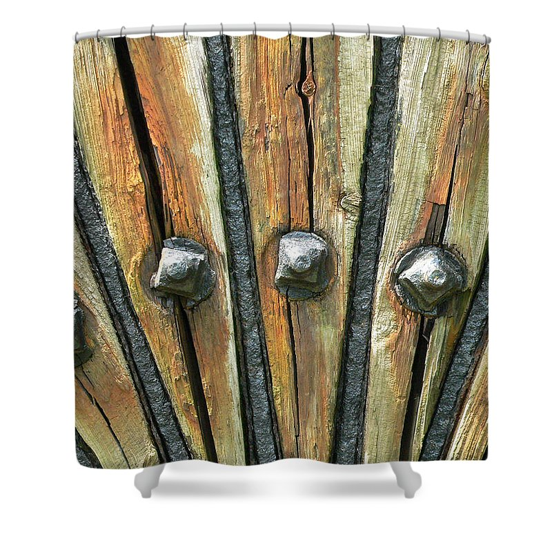 Wheel Spokes Shower Curtain featuring the photograph Spokes by Alice Gipson