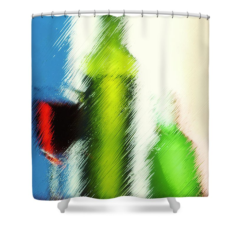Drinks Shower Curtain featuring the photograph Wine Glasses And Bottle With Colorful Drinks by  larisa Fedotova