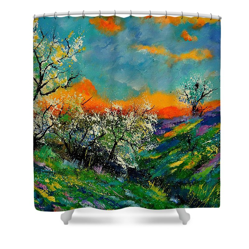Landscape Shower Curtain featuring the painting Spring 672101 by Pol Ledent