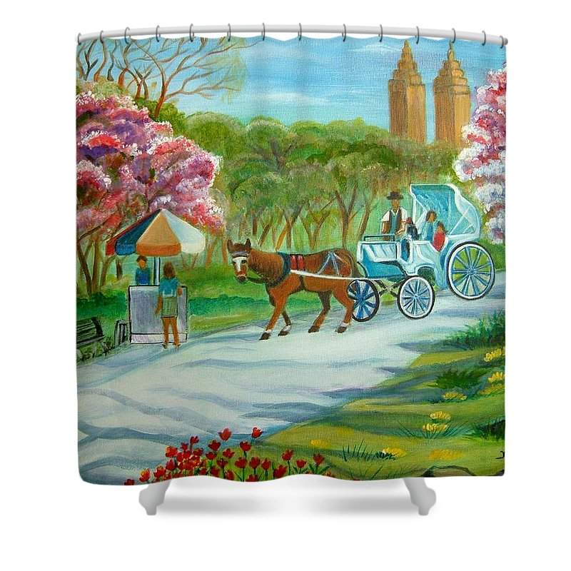 Spring New Shower Curtain featuring the painting Spring in New York by Manjiri Kanvinde