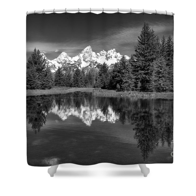 B & W Shower Curtain featuring the photograph Spring In The Tetons by Sandra Bronstein
