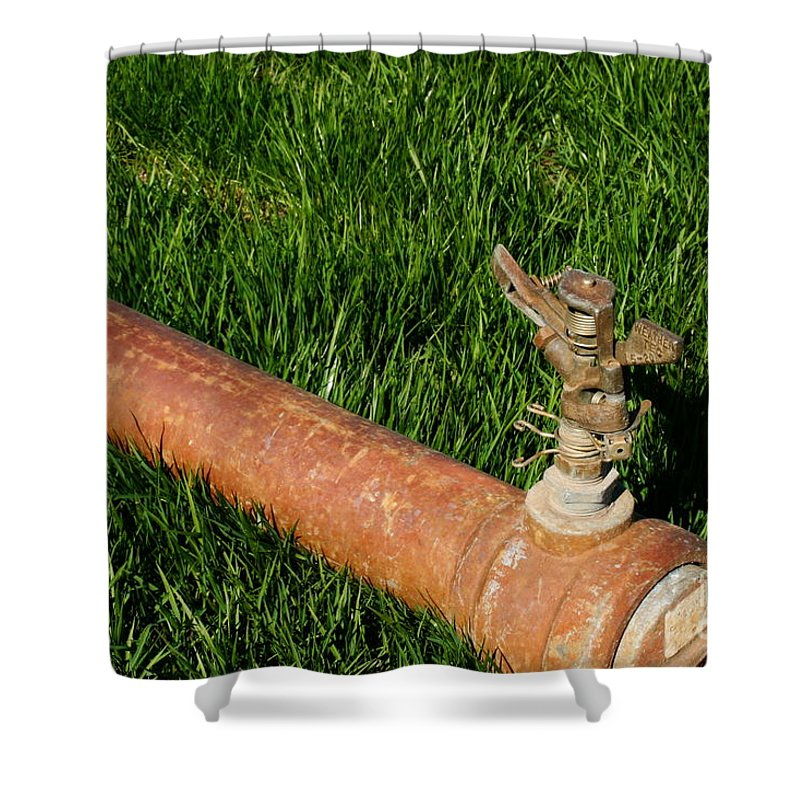 Field Shower Curtain featuring the photograph Sprinkler by Henrik Lehnerer