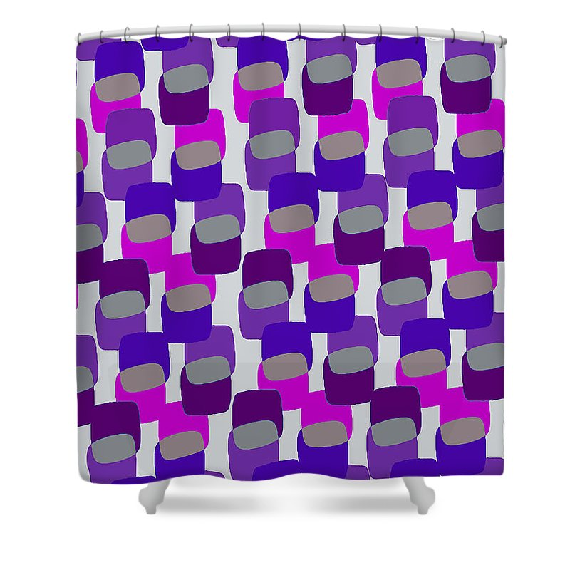 Louisa Shower Curtain featuring the digital art Squares by Louisa Knight