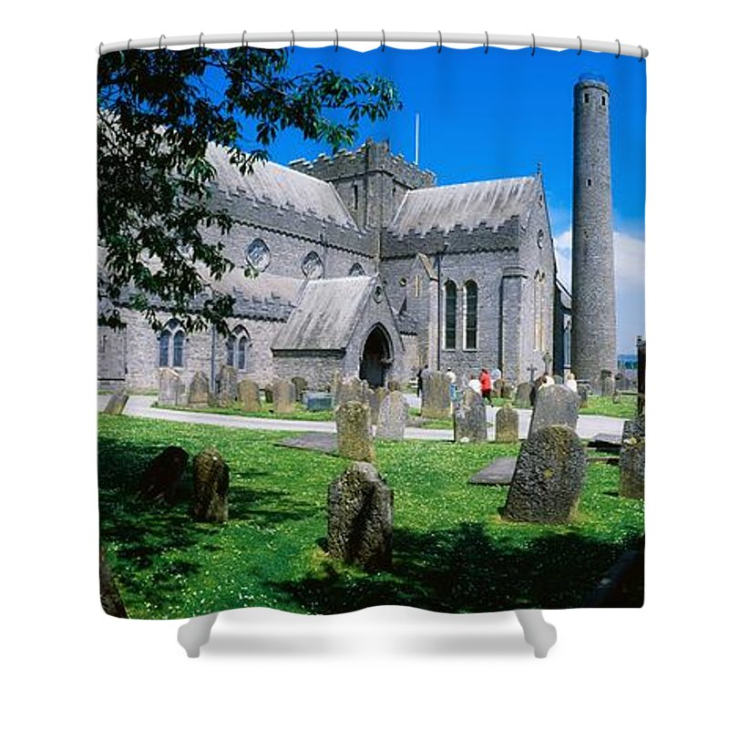 Architectural Heritage Shower Curtain featuring the photograph St Canices Cathedral &, Round Tower by The Irish Image Collection