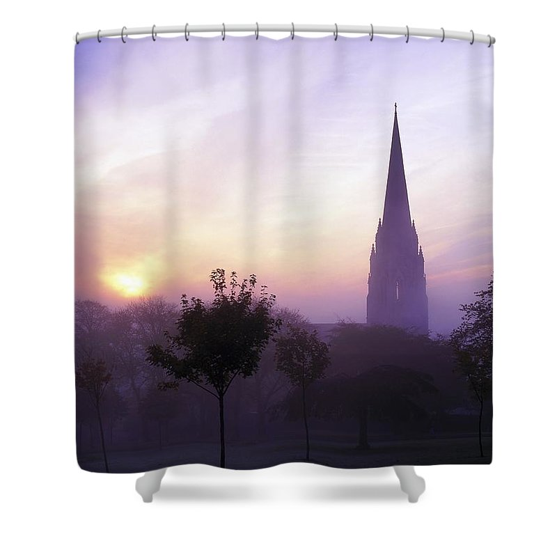 Back Lit Shower Curtain featuring the photograph St Eugenes Cathedral, From Brooke Park by The Irish Image Collection