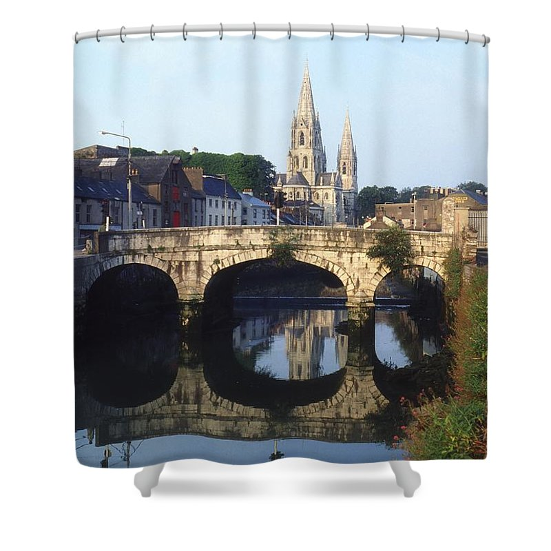 Blue Sky Shower Curtain featuring the photograph St. Finbarres Cathedral, Cork, Co Cork by The Irish Image Collection