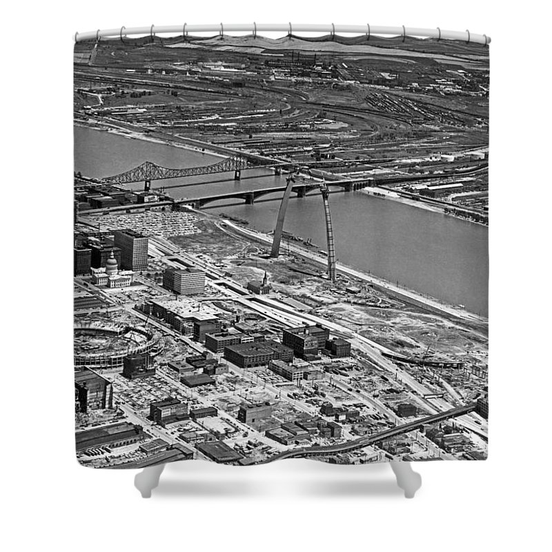 1960's Shower Curtain featuring the photograph St. Louis Arch Construction by Underwood Archives
