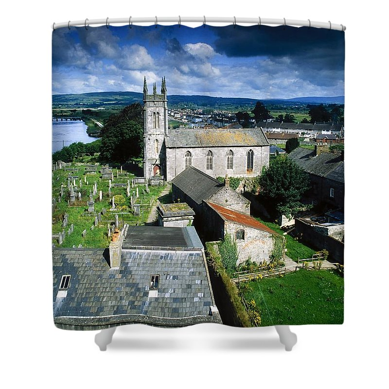 Cemetery Shower Curtain featuring the photograph St Marys Cathedral, Co Limerick, Ireland by The Irish Image Collection