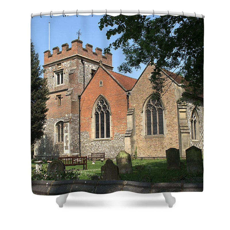 Shower Curtain featuring the photograph St Marys Harefield by Chris Day