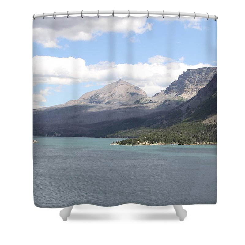 Landscape Shower Curtain featuring the photograph St Marys Lake Glacier National Park Mt by Bobbie Moller