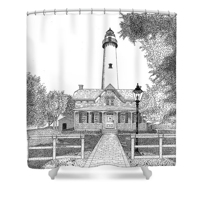 Lighthouse Shower Curtain featuring the drawing St. Simons Lighthouse by Tim Murray