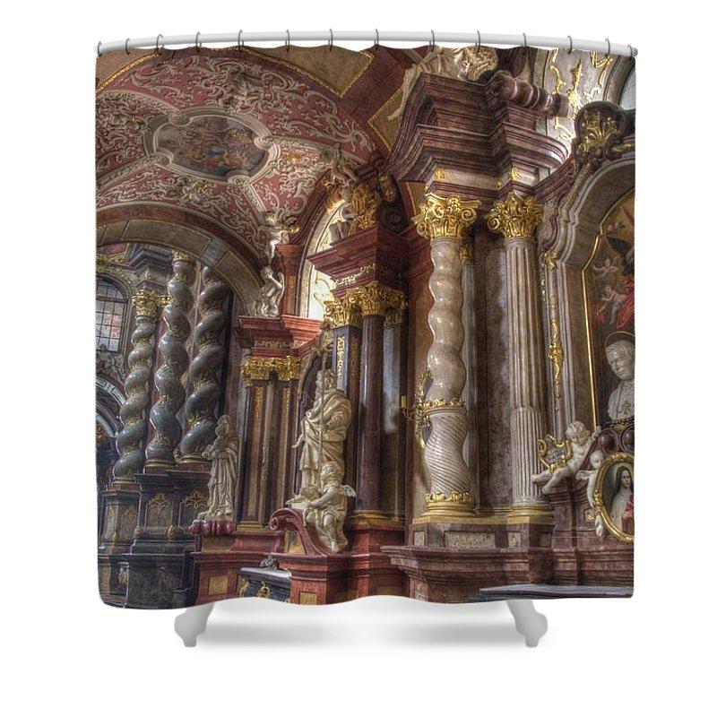 Posnan Shower Curtain featuring the photograph St Stanislaus Church - Posnan by Jon Berghoff
