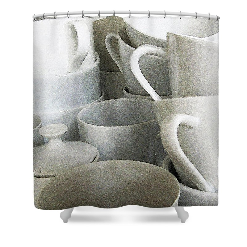 White Cups Shower Curtain featuring the photograph Stacked Up by Rich Franco