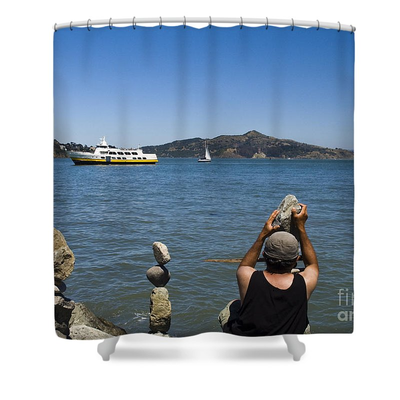 San Francisco Shower Curtain featuring the photograph Stacking Rocks And Ferry by Tim Mulina