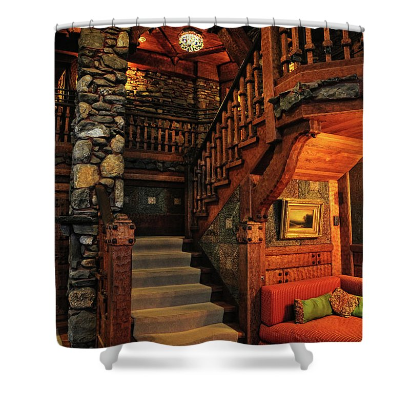 Gillette Castle Shower Curtain featuring the photograph Stairway In Gillette Castle Connecticut by Dave Mills