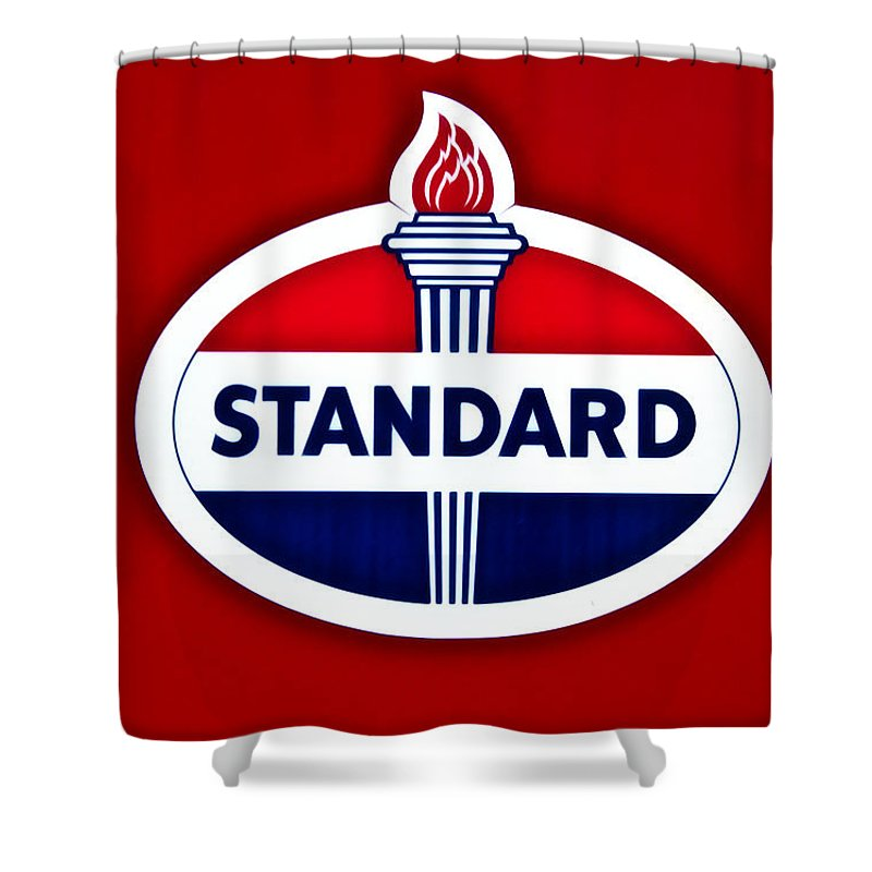 Standard Oil Sign Shower Curtain featuring the photograph Standard Oil Sign by Bill Cannon