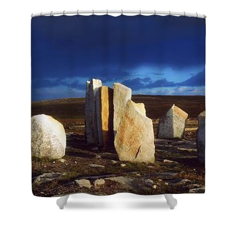 Architectural Heritage Shower Curtain featuring the photograph Standing Stones, Blacksod Point, Co by The Irish Image Collection