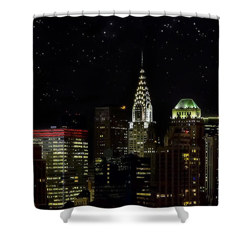 Buildings Shower Curtain featuring the photograph Starry Night by Janet Fikar