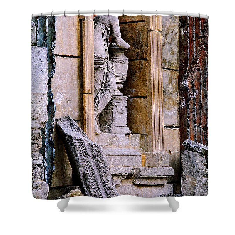 Architectural Shower Curtain featuring the photograph Statue In A Niche by Greg Matchick