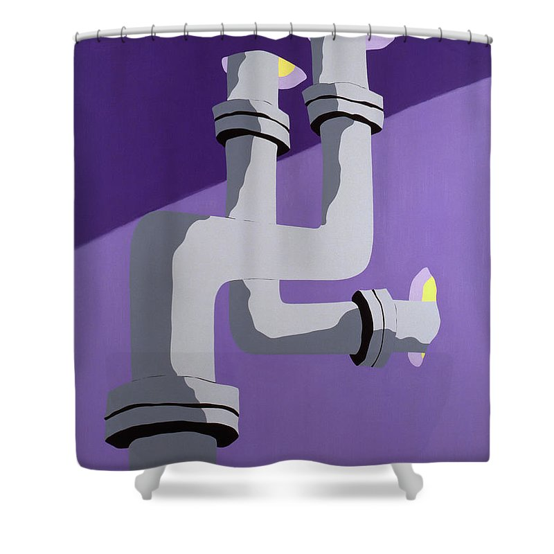 Pipes Shower Curtain featuring the painting Steam Pipes by John Bowers