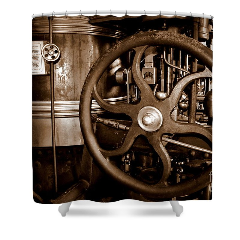 Steam Shower Curtain featuring the photograph Steam Wheel by Kevin Fortier