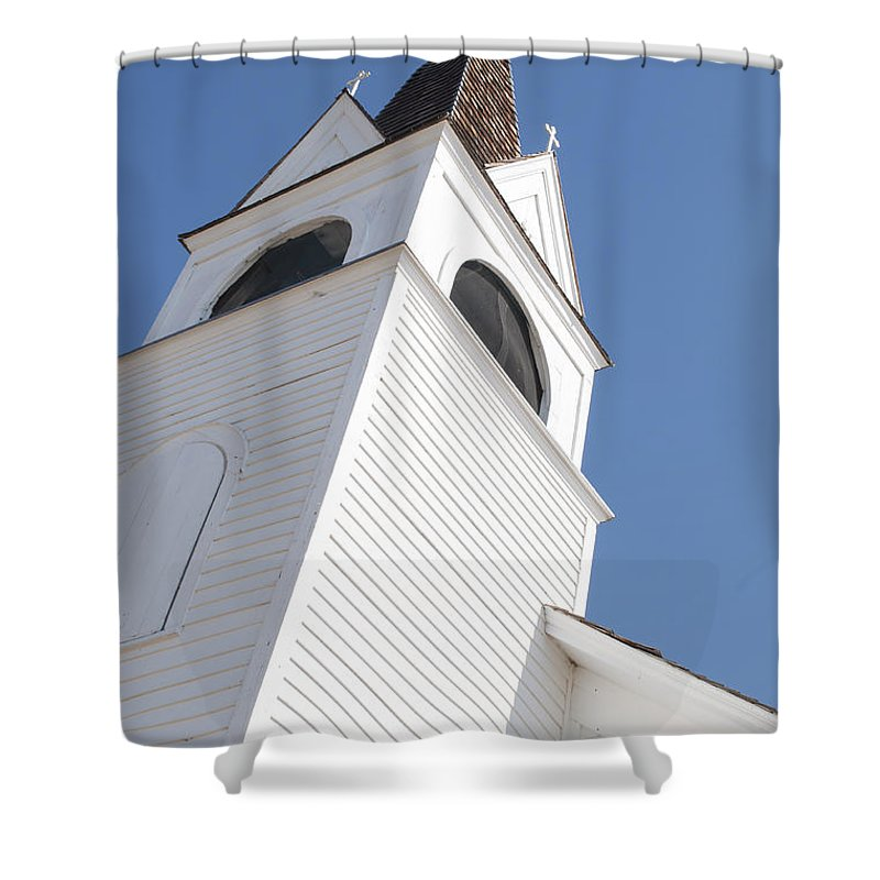 Steeple Shower Curtain featuring the photograph Steeple On St. Joseph's Catholic Mission Church by Fran Riley