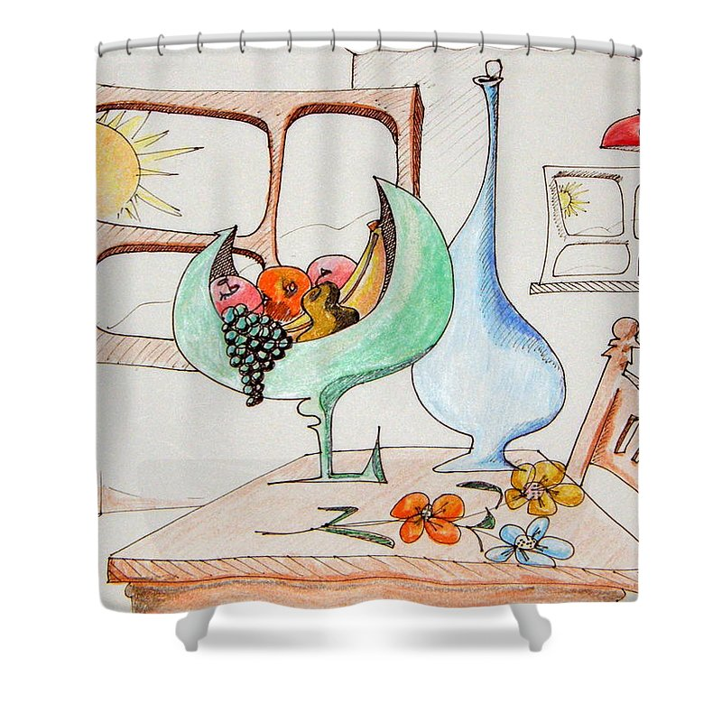Still Life Shower Curtain featuring the drawing Still Life In The Home by Dennis Casto