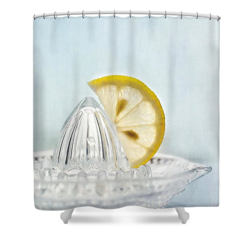 Lemon Shower Curtain Featuring The Photograph Still Life With A Half Slice Of By Priska