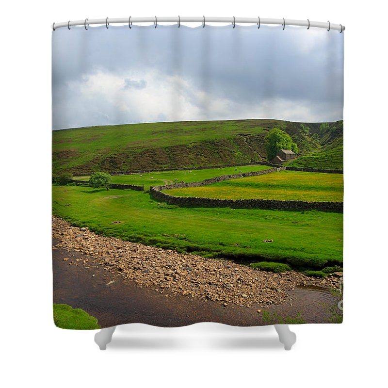 Field Shower Curtain featuring the photograph Stone Barn In A Fold Of The Landscape by Louise Heusinkveld