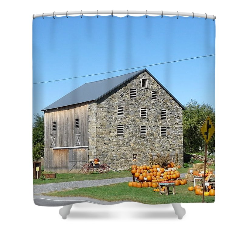 Architecture Shower Curtain featuring the photograph Stone Barn by John Turner