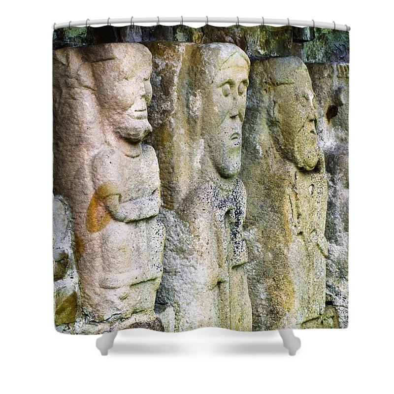 Carving Shower Curtain featuring the photograph Stone Carving Figures by Gareth McCormack