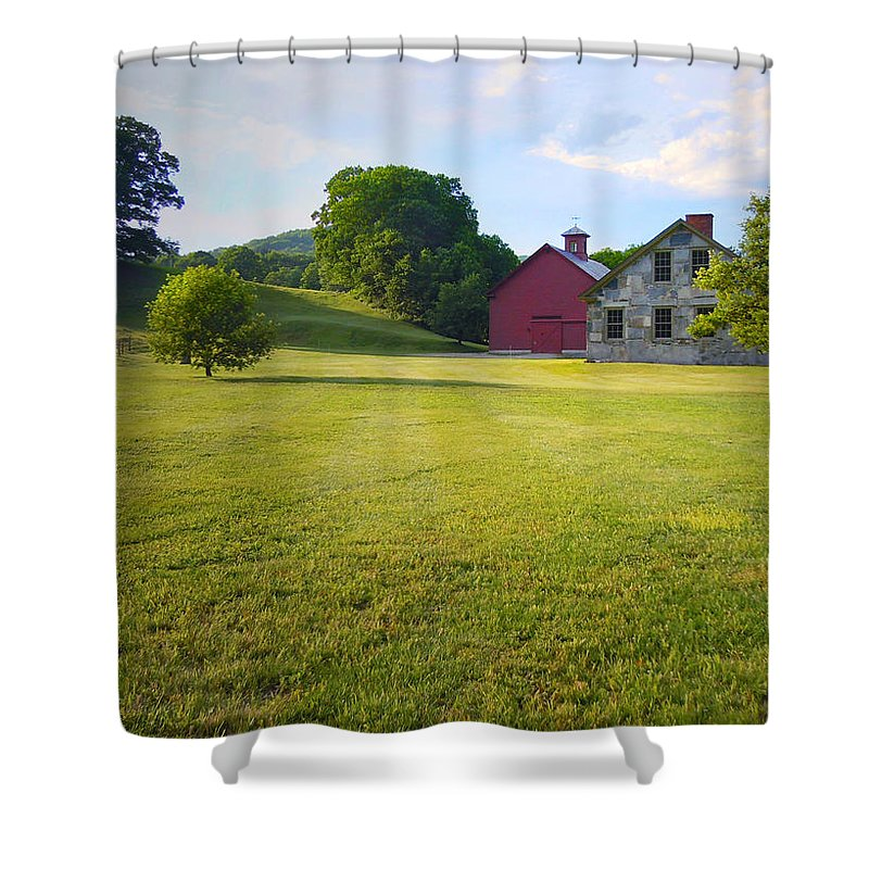 Barn Shower Curtain featuring the photograph Stone Farmhouse In Vermont by Nancy Griswold